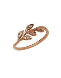 Lord And Taylor 14K Rose Gold Diamond Leaf Ring Diamond Rose Gold