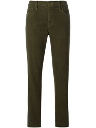 Current Elliott Corduroy Straight Leg Cropped Trousers Green