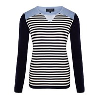 Viyella Petite Insert Striped Jumper Navy