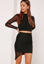 Missguided Fishnet Mesh Asymmetric Mini Skirt Black