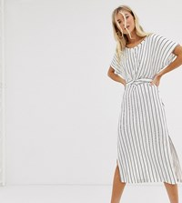 Bershka Midi Dress With Tie Waist In White White