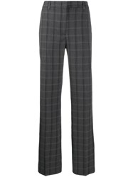 Essentiel Antwerp Check Print Straight Leg Trousers Grey