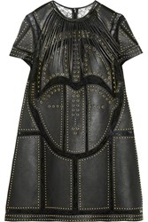 Valentino Studded Leather Paneled Lace Mini Dress Black