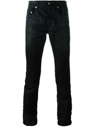Saint Laurent Straight Leg Coated Jeans Black