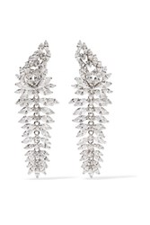 Kenneth Jay Lane Rhodium Plated Cubic Zirconia Earrings Silver Gbp