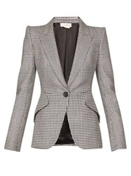 Alexander Mcqueen Single Breasted Prince Of Wales Checked Blazer Black White