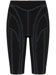 Thierry Mugler Contrast Stitch Cycling Shorts Black