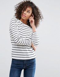 Monki Stripe Long Sleeve T Shirt White Navy Stripe