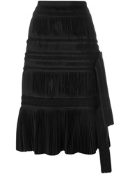 Sacai Pleated A Line Skirt Black