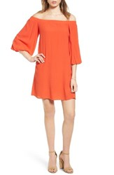Soprano Women's Bell Sleeve Off The Shoulder Dress Spicy Orange
