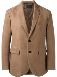 Neil Barrett Leather Blazer Brown