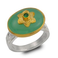 Emma Chapman Jewels Byzantine Star Chrysoprase And Tsavorite Ring Green