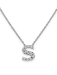 Kc Designs Diamond Initials 14K White Gold Pendant Necklace