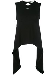Off White Open Back Jersey Top Black