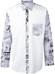 Comme Des Garcons Shirt Contrast Panel Printed Shirt White