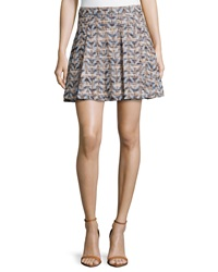 Derek Lam 10 Crosby Waxed Chevron Woven Pleated Skirt Blue Combo