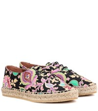 Etro Lace Up Canvas Espadrilles Multicoloured