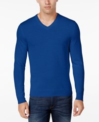 Club Room Men's Merino Wool V Neck Sweater Only At Macy's Lazulite