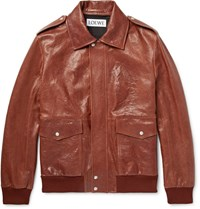 Loewe Textured Leather Jacket Chocolate
