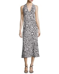 Narciso Rodriguez Tattoo Print Sleeveless Midi Dress Gesso White Black Black White