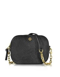 Tory Burch Robinson Saffiano Leather Round Crossbody Bag Black