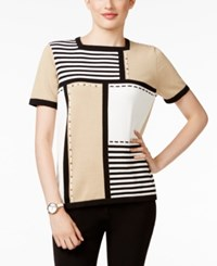 Alfred Dunner Petite Madison Park Colorblocked Sweater Tan