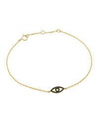 Casa Reale 14K Pave Black Diamond Evil Eye Station Bracelet