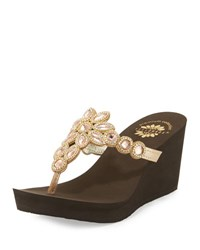 Premium Collection By Yellow Box Cerise Embellished Wedge Sandal Blush