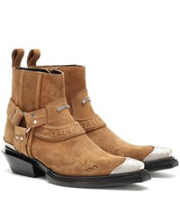 Balenciaga Santiag Harness Suede Ankle Boots Brown