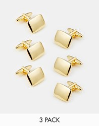 Asos Wedding Cufflinks 3 Pack Save 20 Gold