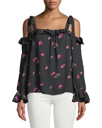 Cynthia Steffe Confetti Ditsy Cold Shoulder Blouse Black