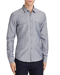 Boss Orange Edoslime Patterned Chambray Slim Fit Button Down Shirt Gray Pink