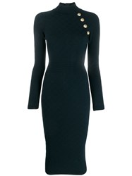 Balmain Knitted Midi Dress Blue
