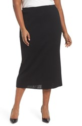 Ming Wang Plus Size Knit Midi Skirt Black