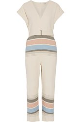 Suno Belted Striped Voile Jumpsuit Ivory