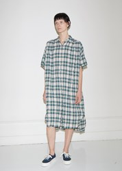 6397 Oversized Plaid Gauze Dress Green Plaid