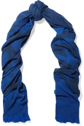 Mcq By Alexander Mcqueen Printed Wool Blend Scarf Royal Blue
