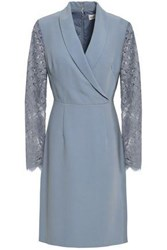 Mikael Aghal Woman Lace Paneled Crepe Dress Light Blue