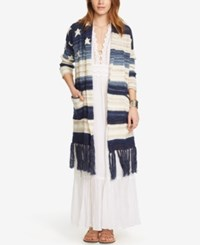 Denim And Supply Ralph Lauren Fringe Shawl Cardigan Blue Multi