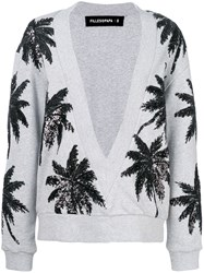 Filles A Papa Sequin Palm Tree V Neck Sweater Grey