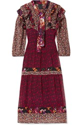 Anna Sui Butterflies And Bells Ruffled Printed Silk Jacquard Dress Purple