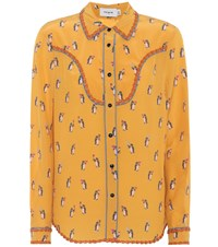 Coach Penguin Printed Silk Shirt Yellow