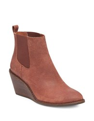 Lucky Brand Pallet Leather Wedge Ankle Boots Russet