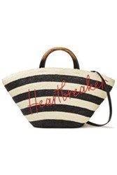 Eugenia Kim Woman Embroidered Striped Straw Tote Ivory