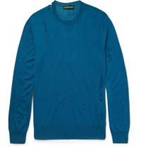 Alexander Mcqueen Ditreed Wool And Ilk Blend Weater Blue