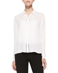 Alice Olivia Perforated Long Sleeve Silk Blouse Off White