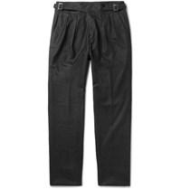 Rubinacci Manny Tapered Pleated Wool Trousers Gray