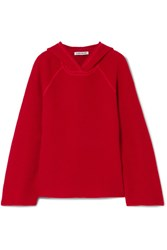 Elizabeth And James Tristan Hooded Waffle Knit Cashmere Sweater Red