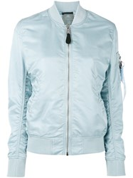 Alpha Industries Arm Pocket Bomber Jacket Women Nylon Xs Blue