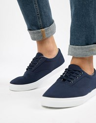 New Look Canvas Lace Up Plimsoll In Navy
